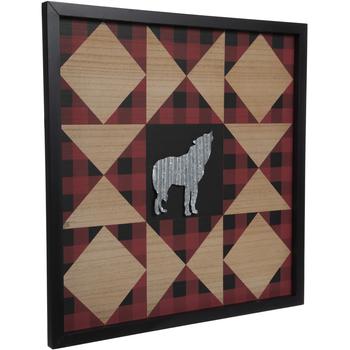 Geometric Framed Wolf Wood Wall Decor