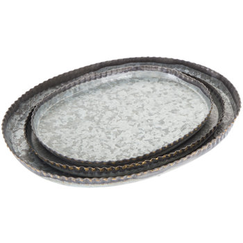 Fluted Oval Galvanized Metal Tray Set