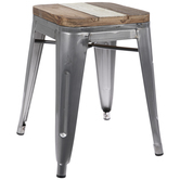 Striped Square Metal Stool