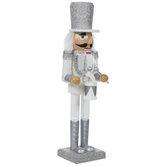 White & Silver Glitter Drummer Nutcracker