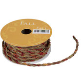"""Red, Green & Brown Twisted Rope Ribbon - 1/8"""""""