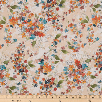 Watercolor Flowers Duck Cloth Fabric