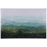 Green & Blue Textured Waves Canvas Wall Decor