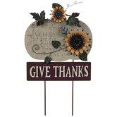 Give Thanks Pumpkin Metal Garden Stake