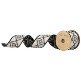 Black & White Dotted Diamonds Wired Edge Ribbon - 2 1/2""