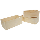 Rounded Rectangle Wood Container Set