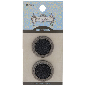 Black Rhinestone Round Shank Buttons - 25mm