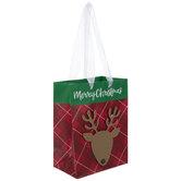 Merry Christmas Reindeer Plaid Gift Bag