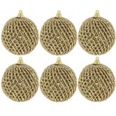 Gold Glitter Crosshatch Ball Ornaments