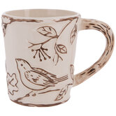 Cream Birds & Berries Mug