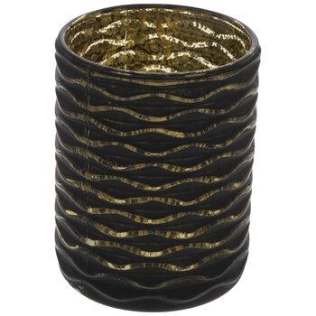 Black & Gold Wave Glass Vase