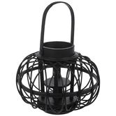 Black Woven Wood Lantern