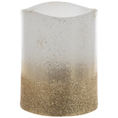 Gold Glitter Dipped LED Pillar Candle