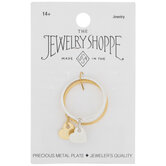 10K Gold Plated Heart Drop Rings - Size 7.5