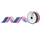 American Flag Single-Face Satin Ribbon - 1 1/2""