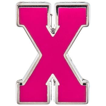 Pink Letter Metal Pin - X