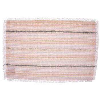 Pink Striped Slub Fringed Placemat
