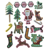 Metallic Christmas Icons Puffy Stickers