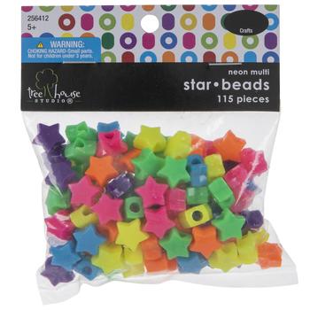 Neon Star Plastic Beads