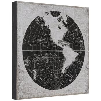 Black & Beige World Map Wood Wall Decor