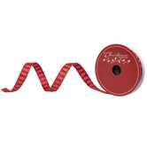 """Red Glitter Striped Wired Edge Ribbon - 5/8"""""""