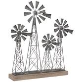 Galvanized Windmills Metal Decor