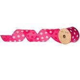 "Hot Pink & White Polka Dot Satin Wired Edge Ribbon - 2 1/2"""