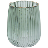 Green Round Ribbed Glass Vase