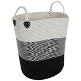 Black & White Striped Laundry Hamper