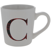 Red Plaid Letter Mug - C