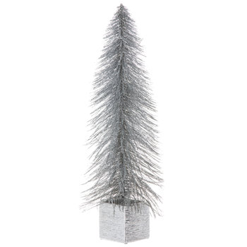 Silver Glitter Tree In Square Pot - Large