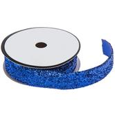 """Royal Blue Metallic Velvet Trim - 3/4"""""""