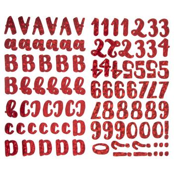 Red Holographic Sparkle Handwritten Alphabet Stickers