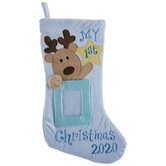 Blue My 1st Christmas 2020 Reindeer Stocking