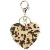 Leopard Print Heart Keychain