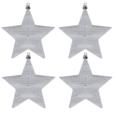 Silver Striped Star Ornaments