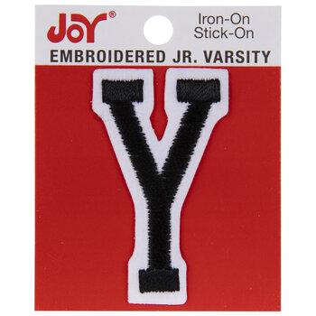 "Black Junior Varsity Letter Iron-On Applique Y - 2"""