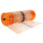 "Metallic Orange Ombre Deco Mesh Ribbon With Jute - 10"""