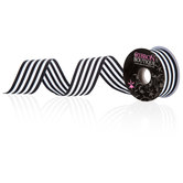 Black & White Striped Grosgrain Ribbon - 1 1/4""
