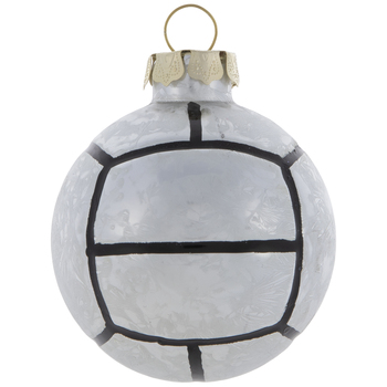 Silver & Black Volleyball Ornament