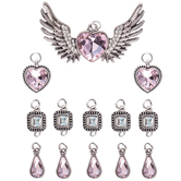 Winged Heart & Rhinestone Pendants