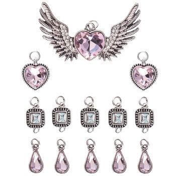 Winged Heart & Rhinestone Pendants
