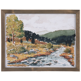 Watercolor Rocky River Wood Wall Decor