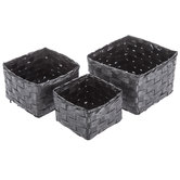 Black Paper Weave Basket Set