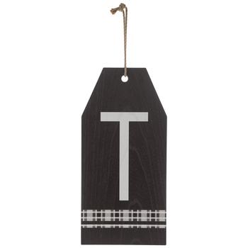 Plaid Tag Letter Wood Wall Decor - T