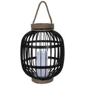 Light Up Black Basket Lantern