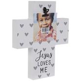 "Jesus Loves Me Cross Wood Clip Frame - 3"" x 3"""