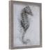 Gray Watercolor Seahorse Framed Wood Wall Decor