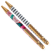 Floral & Striped Erasable Pens - 2 Piece Set