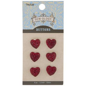 Rhinestone Heart Shank Buttons
